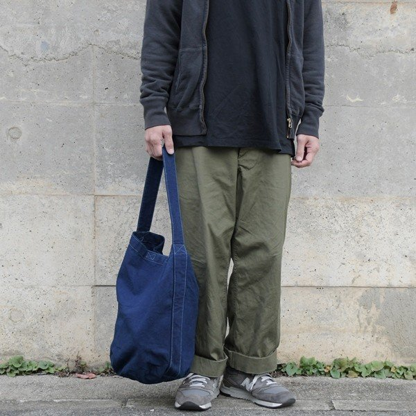 藍染め キャンバス バケット バッグ トートバッグ ワンショルダーバッグ 円柱 筒型|studio-ichi|05