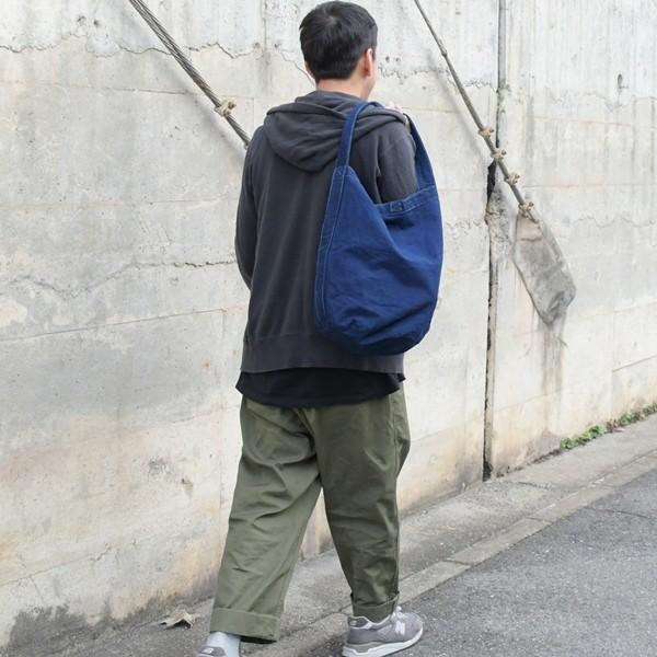 藍染め キャンバス バケット バッグ トートバッグ ワンショルダーバッグ 円柱 筒型|studio-ichi|06