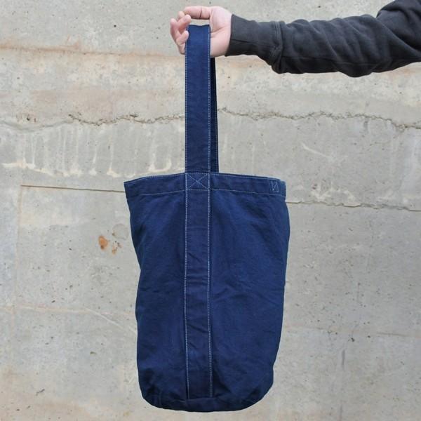 藍染め キャンバス バケット バッグ トートバッグ ワンショルダーバッグ 円柱 筒型|studio-ichi|08