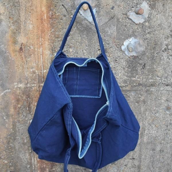 藍染め トートバッグ ジップ付き キャンバス 大きい 旅行バッグ|studio-ichi|02