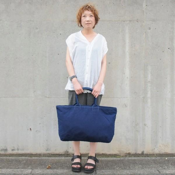 藍染め トートバッグ ジップ付き キャンバス 大きい 旅行バッグ|studio-ichi|03