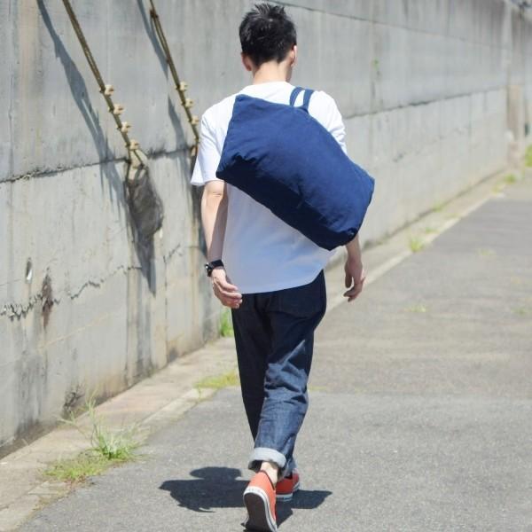 藍染め トートバッグ ジップ付き キャンバス 大きい 旅行バッグ|studio-ichi|04