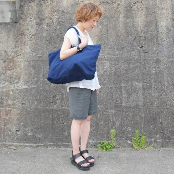 藍染め トートバッグ ジップ付き キャンバス 大きい 旅行バッグ|studio-ichi|05