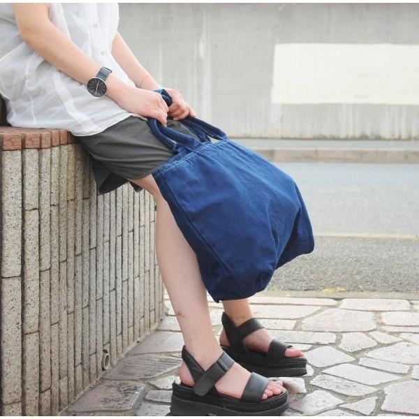 藍染め トートバッグ ジップ付き キャンバス 大きい 旅行バッグ|studio-ichi|06