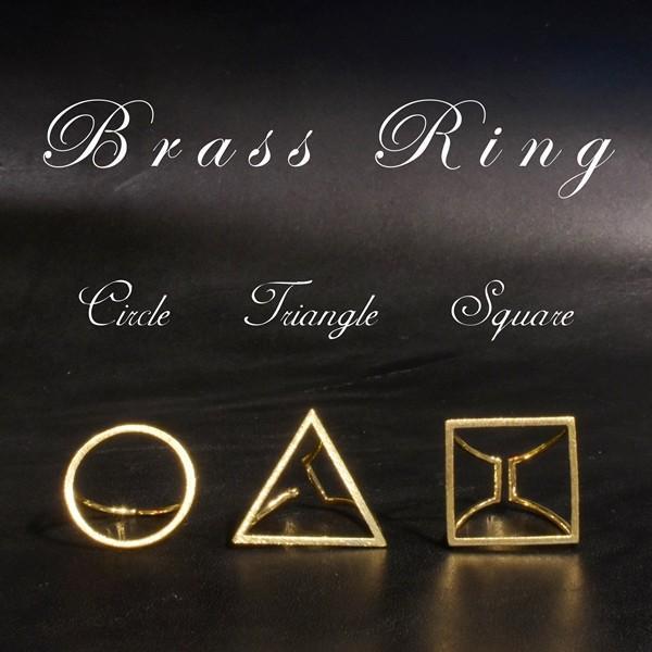 真鍮 丸 三角 四角 リング サークル トライアングル スクエア ゴールド プレゼント ギフト