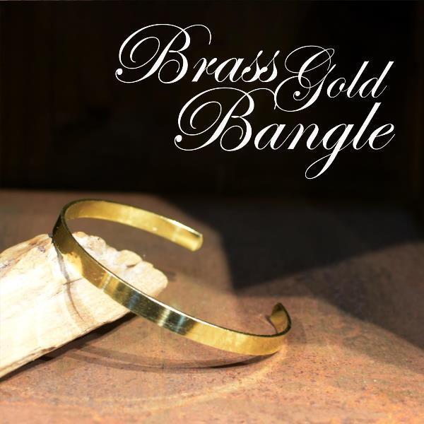 真鍮 生地 バングル 細 ブレスレット ゴールド