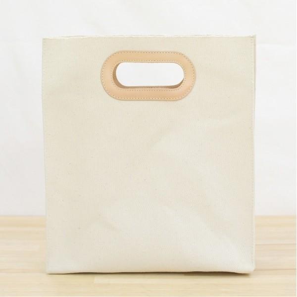 1号帆布 ペーパーバッグ Sサイズ トートバッグ canvas キャンバス 極厚 ヌメ革 シンプル 綿 コットン 名入れ 刻印|studio-ichi|02