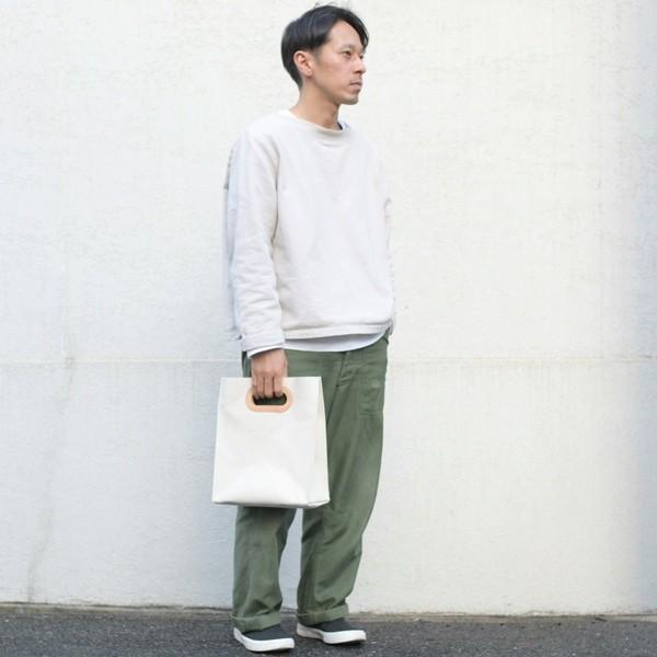 1号帆布 ペーパーバッグ Sサイズ トートバッグ canvas キャンバス 極厚 ヌメ革 シンプル 綿 コットン 名入れ 刻印|studio-ichi|06