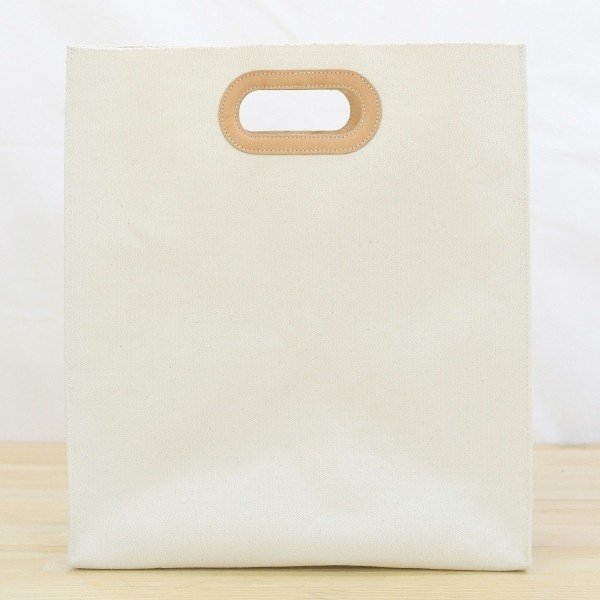 1号帆布 ペーパーバッグ Lサイズ トートバッグ canvas キャンバス 極厚 ヌメ革 シンプル 綿 コットン 名入れ 刻印 studio-ichi 02