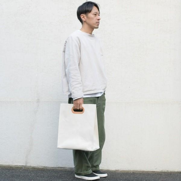 1号帆布 ペーパーバッグ Lサイズ トートバッグ canvas キャンバス 極厚 ヌメ革 シンプル 綿 コットン 名入れ 刻印 studio-ichi 03