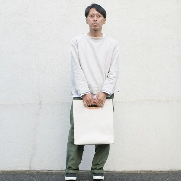 1号帆布 ペーパーバッグ Lサイズ トートバッグ canvas キャンバス 極厚 ヌメ革 シンプル 綿 コットン 名入れ 刻印 studio-ichi 04