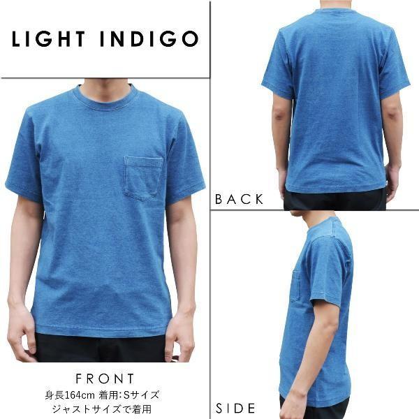 ポケットTシャツ インディゴ 半袖 Tシャツ ポケット付 デニム ウォッシュ メンズ|studio-ichi|02