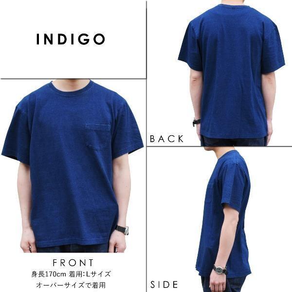ポケットTシャツ インディゴ 半袖 Tシャツ ポケット付 デニム ウォッシュ メンズ|studio-ichi|03
