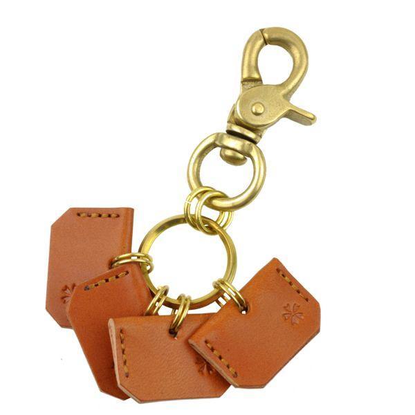 真鍮 キーホルダー メンズ キーケース 桜柄キーカバー付きレバーナス