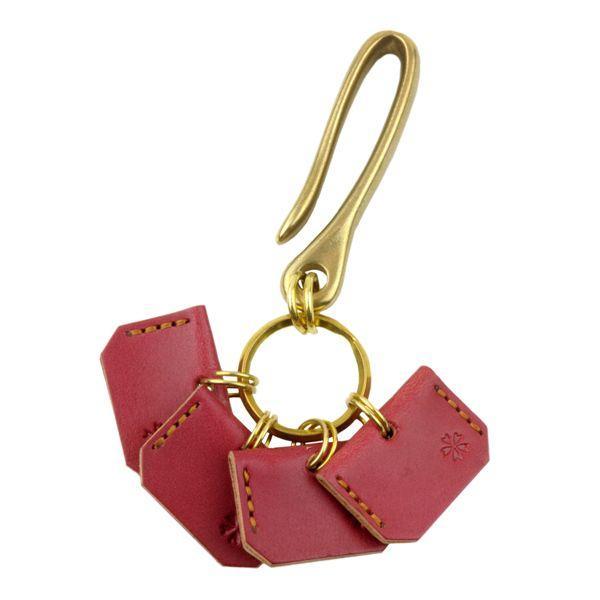真鍮 キーホルダー メンズ キーケース 桜柄キーカバー付きベルトフック