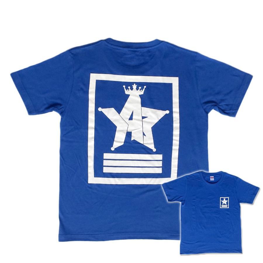 Tシャツ ロゴ カットソー 半袖 ブルー M,L デザイン プリント オリジナル メール便可 CROWN STAR「ブルー」|studiojam
