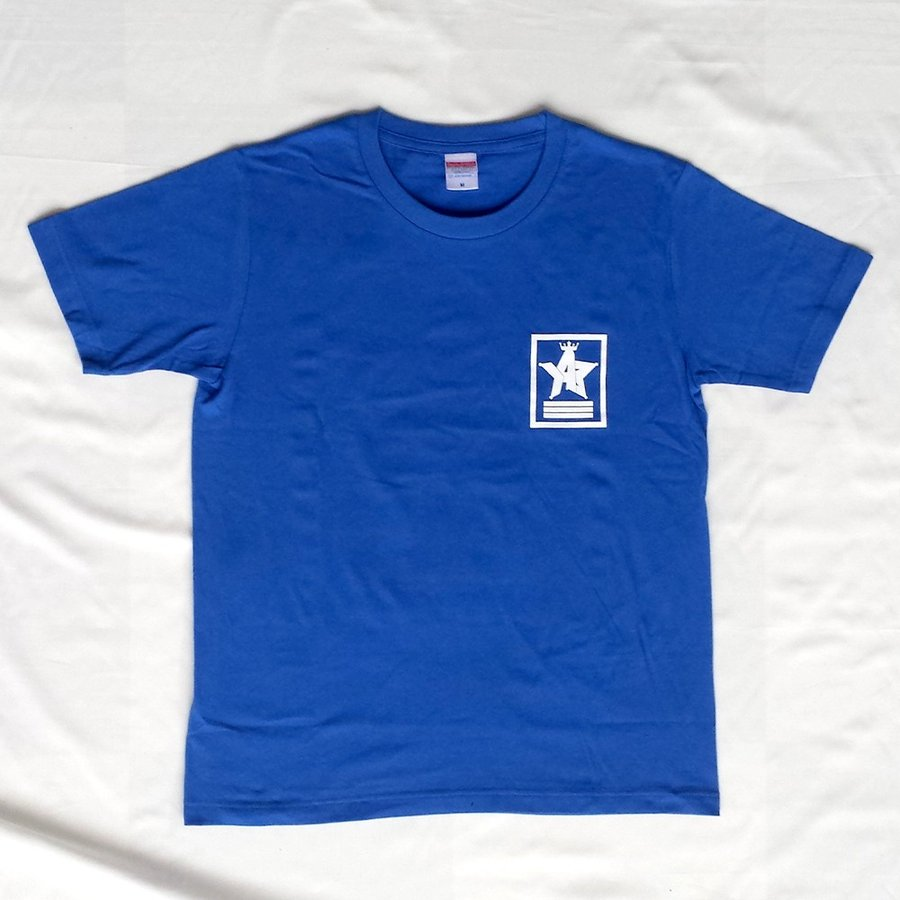 Tシャツ ロゴ カットソー 半袖 ブルー M,L デザイン プリント オリジナル メール便可 CROWN STAR「ブルー」|studiojam|02