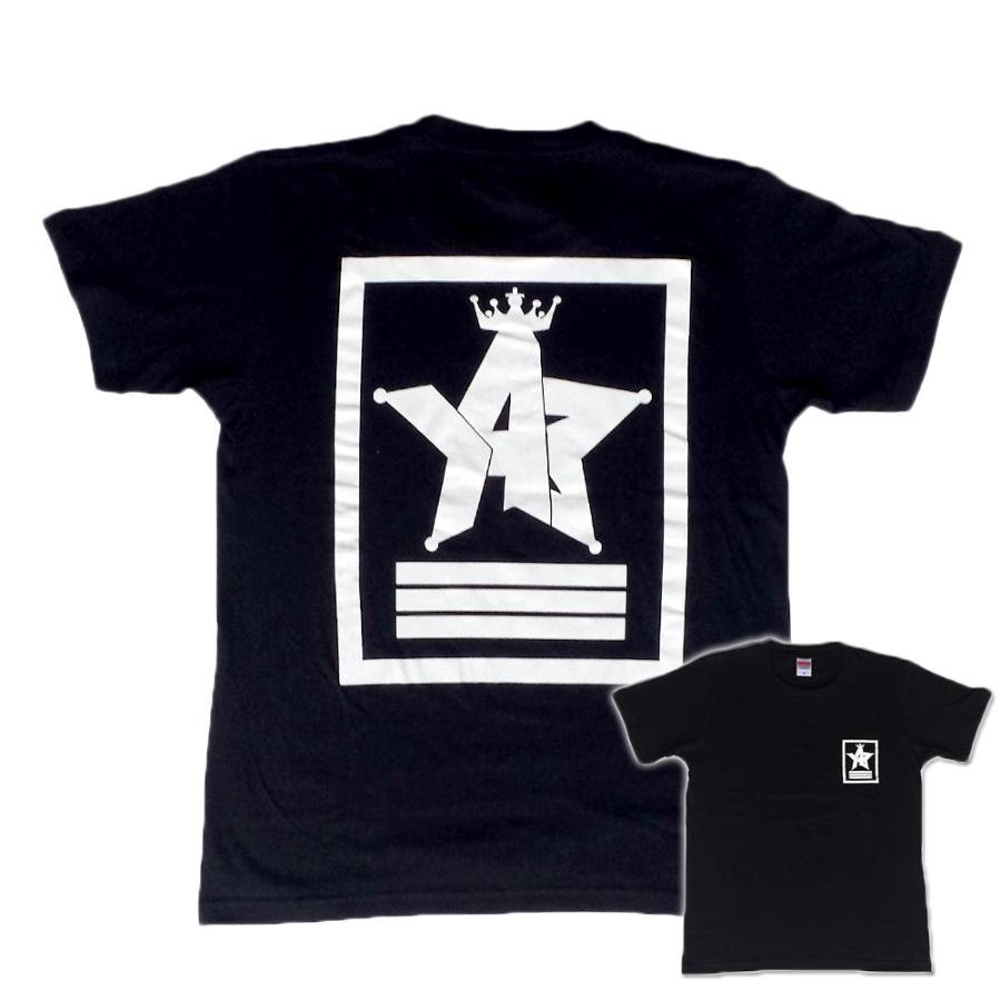 Tシャツ ロゴ カットソー 半袖 ブラック 130〜XXL デザイン プリント オリジナル メール便可 CROWN STAR「ブラック」 studiojam