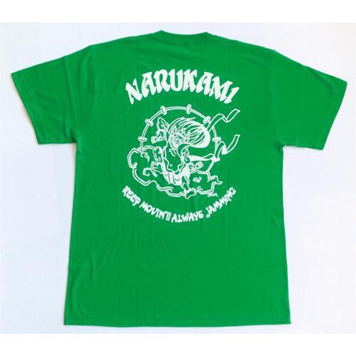 SALE 和柄 デザイン 半袖 Tシャツ プリント オリジナル メール便可 鳴神「グリーン」|studiojam|03