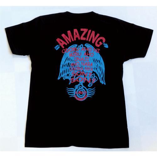SALE 和柄 デザイン 半袖 Tシャツ プリント オリジナル メール便可 八咫烏「ブラック:青」|studiojam|03