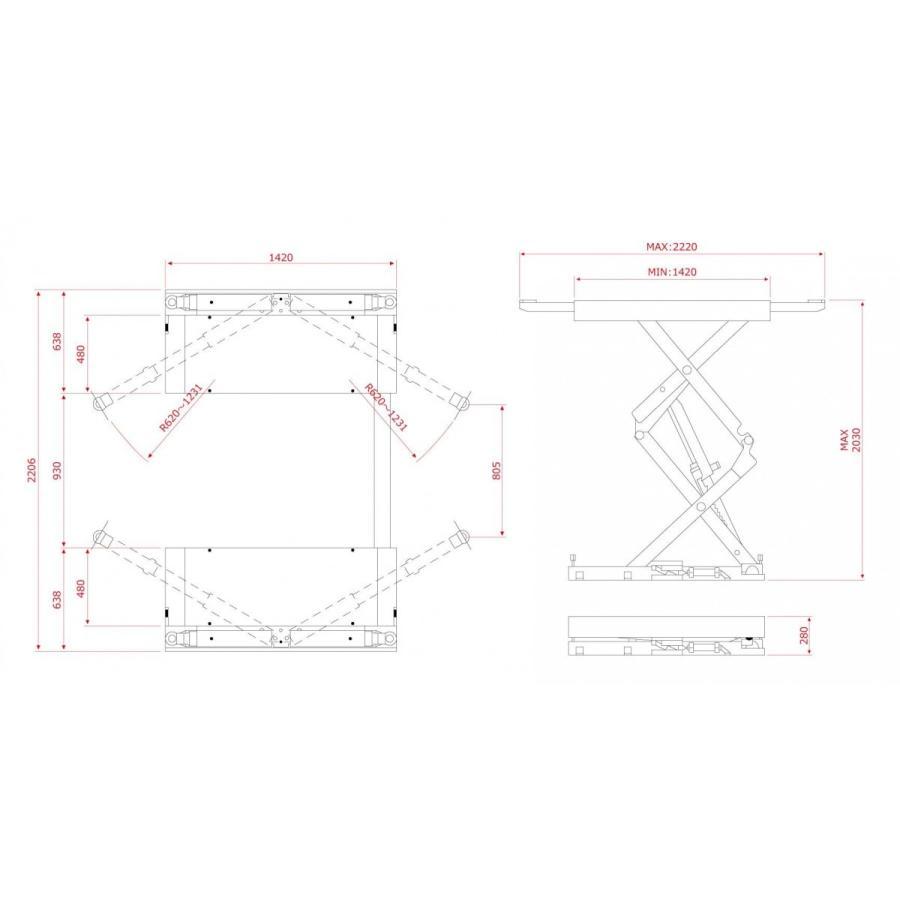 ファインピース(FINEPIECE)プレート・アーム兼用シザースリフト 3.3t PL-SA331R(レッド) SCISSOR lift stw-store 06