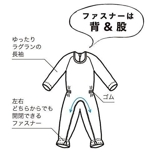 【2018A/W新作★送料無料】 介護つなぎ服(背開き)ブルー LL-介護用品