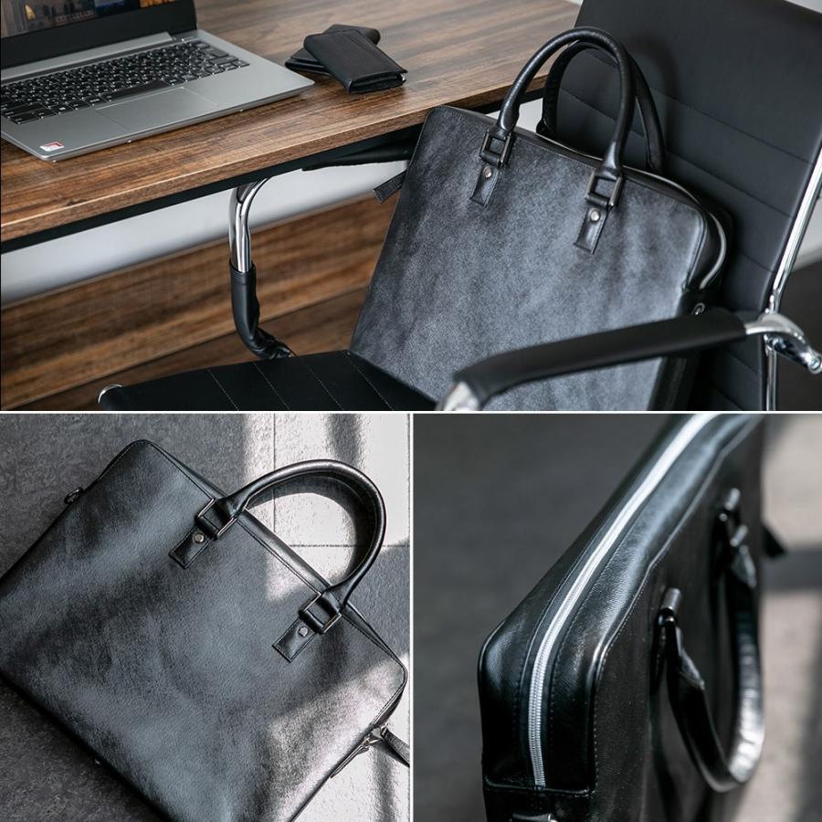 ビジネスバッグ メンズ ブリーフケース 本革 牛革 スリム ショルダー 軽量 大容量収納 書類 ファイル 2way|styleequal|15