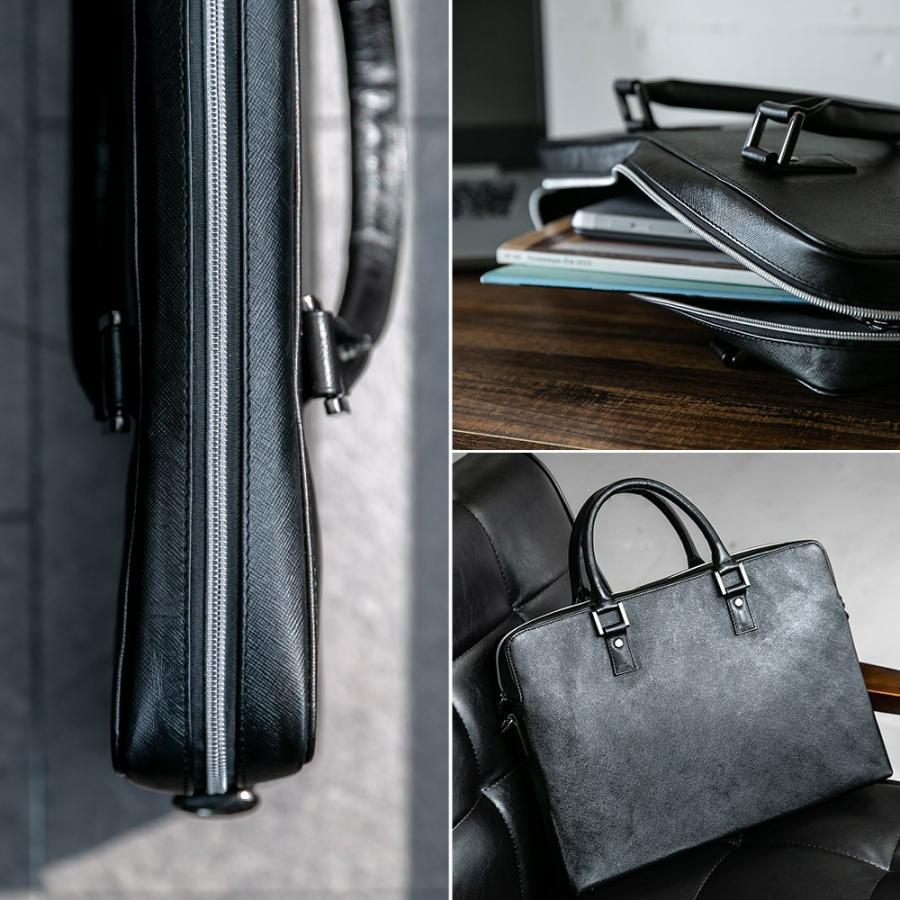 ビジネスバッグ メンズ ブリーフケース 本革 牛革 スリム ショルダー 軽量 大容量収納 書類 ファイル 2way|styleequal|16