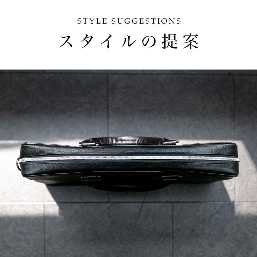 ビジネスバッグ メンズ ブリーフケース 本革 牛革 スリム ショルダー 軽量 大容量収納 書類 ファイル 2way|styleequal|06
