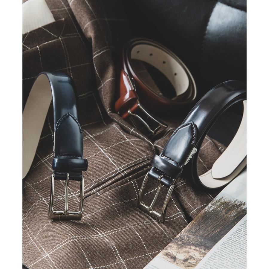 メンズ ベルト イタリア リナルディ社製アドバンレザ  日本製 ビジネスベルト 送料無料 ダークネイビー バーガンディ ライトブラウン ブラック 長沢ベルト|styleequal|07