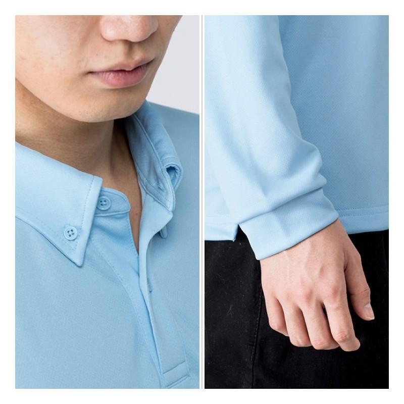ポロシャツ ドライ 長袖 ボタンダウン レディース (ユニセックス) メンズ ポケット 白 黒 ネイビー 無地 介護 ゴルフ 仕事 制服 styleequal 17