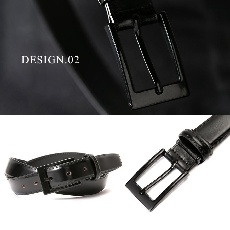 ベルト メンズ 革 レザー 黒にこだわった 糸 バックル 全て黒 ビジネス スーツ 革ベルト 紳士 父の日 ギフト styleequal 09