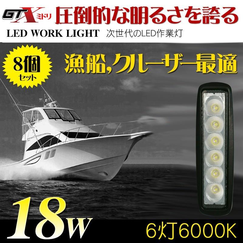 送料無料漁船 クルーザー最適 18W 8個/セット LED作業灯 LEDワークライト5500K〜6500K 防水10/70V トラック/建設機械/SUV/特殊自動車適用