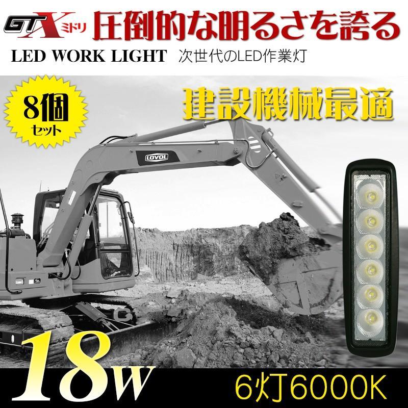 送料無料建設機械最適 18W 8個/セット LED作業灯 LEDワークライト5500K〜6500K 防水10/70V トラック/漁船 クルーザー/SUV/特殊自動車適用