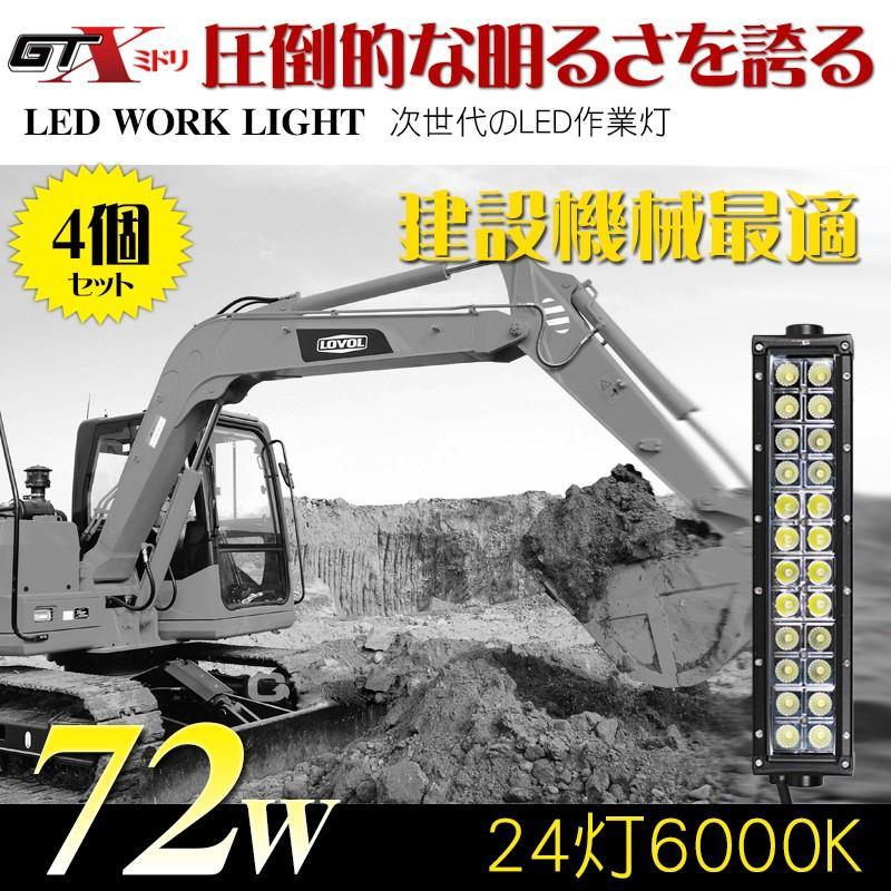 送料無料建設機械最適 72W 72W 72W 4個/セット LED作業灯 LEDワークライト5500K〜6500K 防水10/70V トラック/漁船 クルーザー/SUV/特殊自動車適用 17b