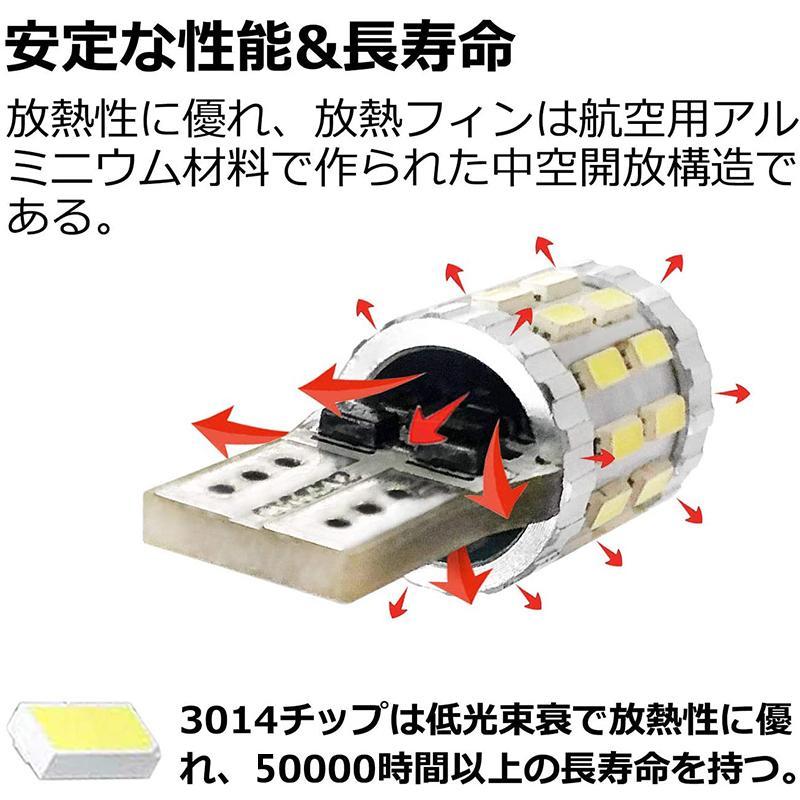 T10 led 3014LEDチップ30連SMD 爆光 キャンセラー内蔵 12-24V 360°全方位発光 ポジションランプ 車検対応 車 ナンバー灯ルームランプ ホワイト 2個セット stylejapan 05