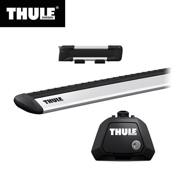 THULE(スーリー) エクストレイル専用ベースキャリア(フット7104+ウイングバー EVO7112)+スキーキャリア スノーパック7322 ルーフレール付き H25/12· T32