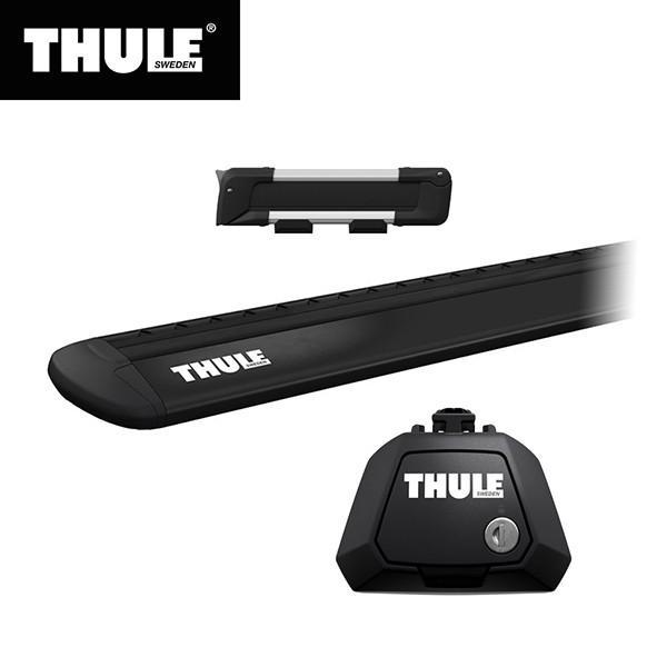 THULE(スーリー) エクストレイル専用ベースキャリア(フット7104+ウイングバー EVO7112B)+スキーキャリア スノーパック7322 ルーフレール付き H25/12· T32
