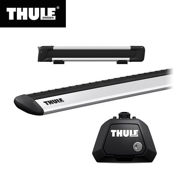 THULE(スーリー) エクストレイル専用ベースキャリア(フット7104+ウイングバー EVO7112)+スキーキャリア スノーパック7324 ルーフレール付き H25/12· T32