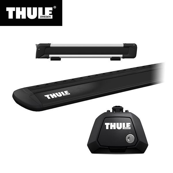 THULE(スーリー) エクストレイル専用ベースキャリア(フット7104+ウイングバー EVO7112B)+スキーキャリア スノーパック7324 ルーフレール付き H25/12· T32