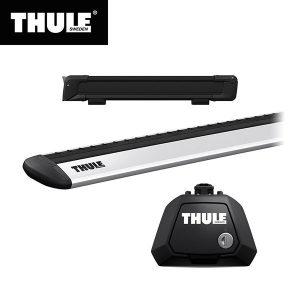 THULE(スーリー) エクストレイル専用ベースキャリア(フット7104+ウイングバー EVO7112)+スキーキャリア スノーパック7324B ルーフレール付き H25/12· T32