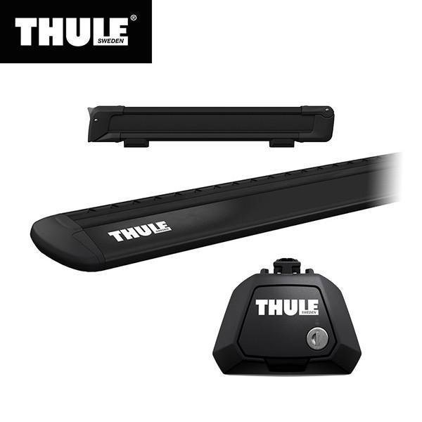 THULE(スーリー) エクストレイル専用ベースキャリア(フット7104+ウイングバー EVO7112B)+スキーキャリア スノーパック7324B ルーフレール付き H25/12· T32