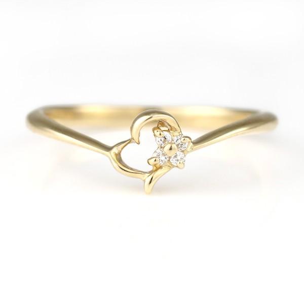 お歳暮 ハート ダイヤモンド ピンキーリング 指輪 イエローゴールド セール, Ash 7b272a24