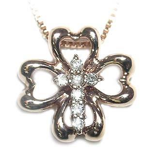 オリジナル K18ピンクゴールドダイヤモンド ペンダント ネックレス クローバー セール, アットボーテ e81355a0