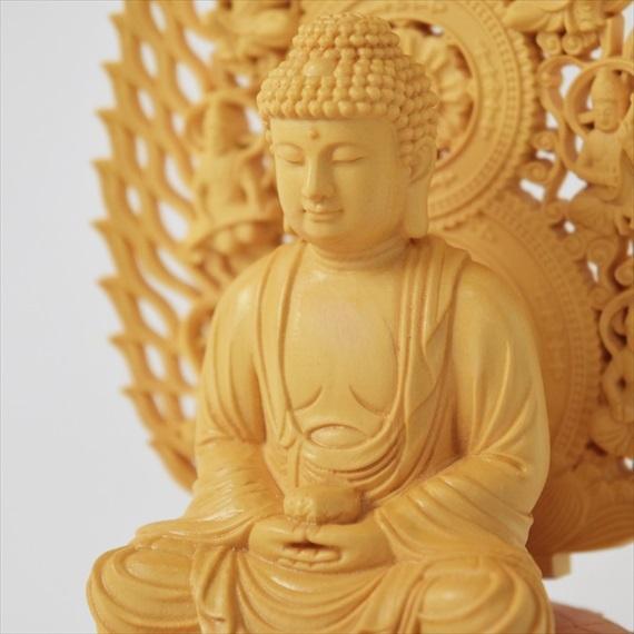 木彫り 仏像 阿弥陀如来 お釈迦様 仏陀 ブッダ 座像 阿弥陀如来像 置物 ...