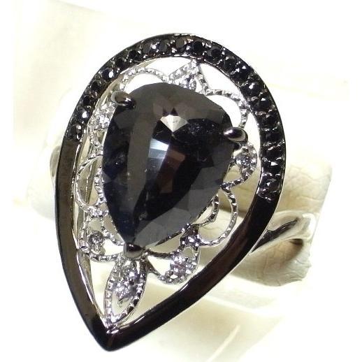 特価 K18WG(ホワイトゴールド) ブラックダイヤモンド 指輪 リング 12号 DIA, 世界の銘酒大島コレクション aad1a287