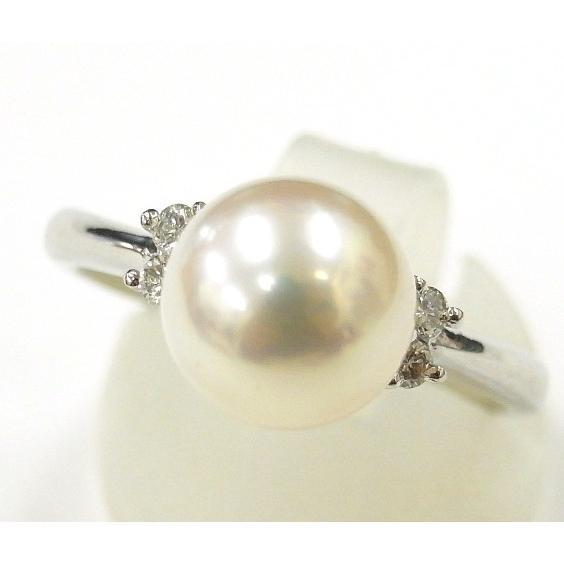 新しいコレクション Pt900(プラチナ) 真珠 指輪 リング 17号 レディース 8.9mm ホワイトパール, 満天社 47087613