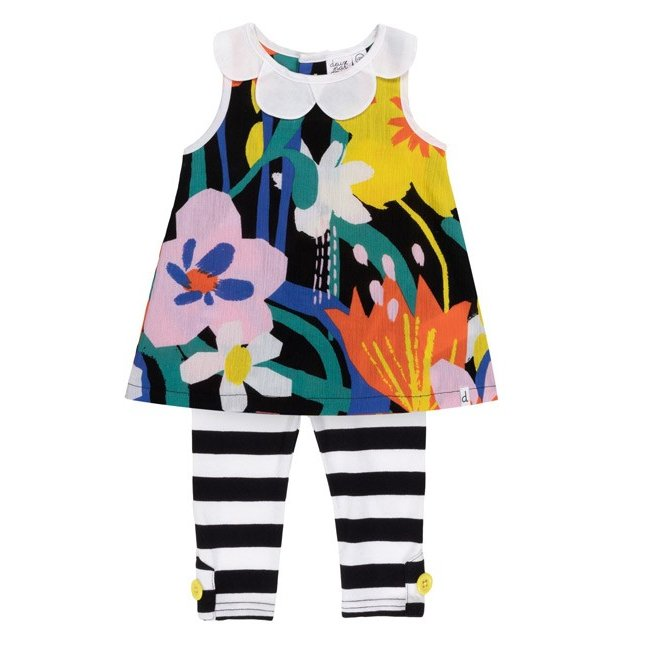 Deux par Deux (デューパーデュー)Printed Abstract Flowers With Petal Collar Tunic & Striped Legging Set sugardays 02