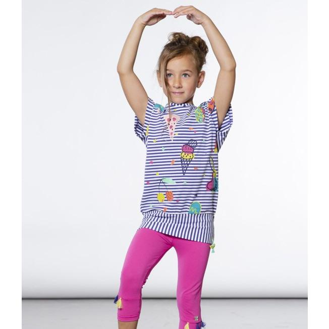 Deux par Deux (デューパーデュー)Striped Tunic With Food Prints & Fuchsia Capri Legging Set 20%Off sugardays