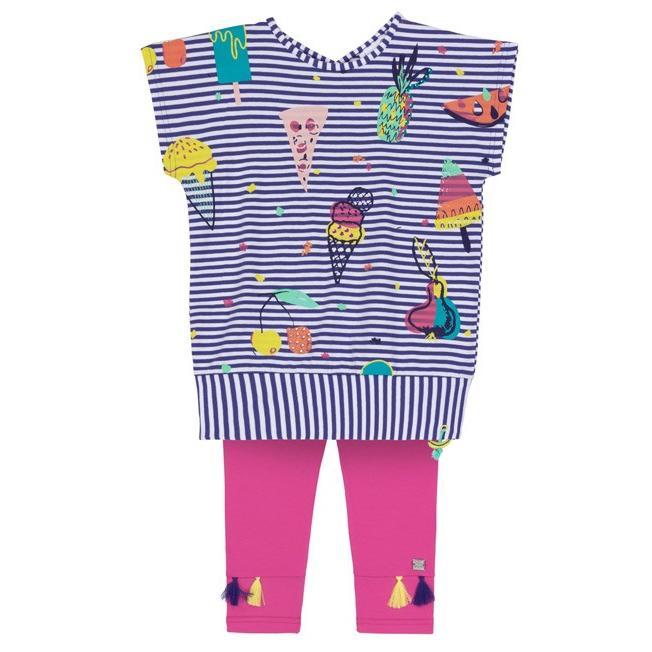 Deux par Deux (デューパーデュー)Striped Tunic With Food Prints & Fuchsia Capri Legging Set 20%Off sugardays 02
